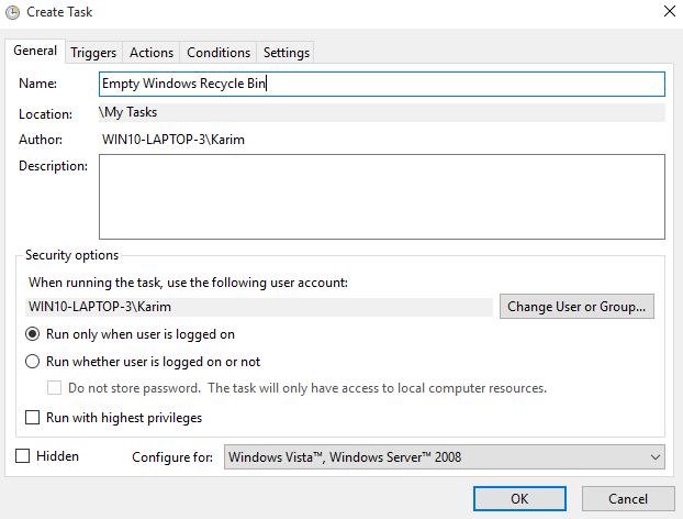 Set task name to: Empty Windows Recycle Bin