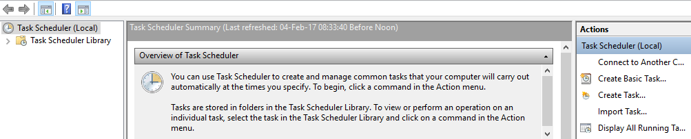 Use the task scheduler to shutdown Windows