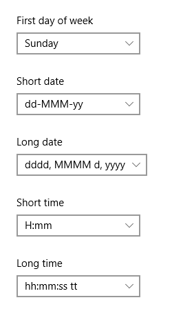Date and time format example