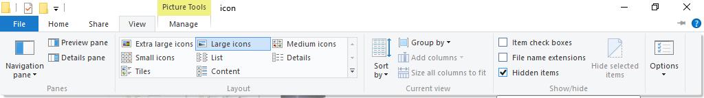 Show hidden files and folders in Windows file explorer