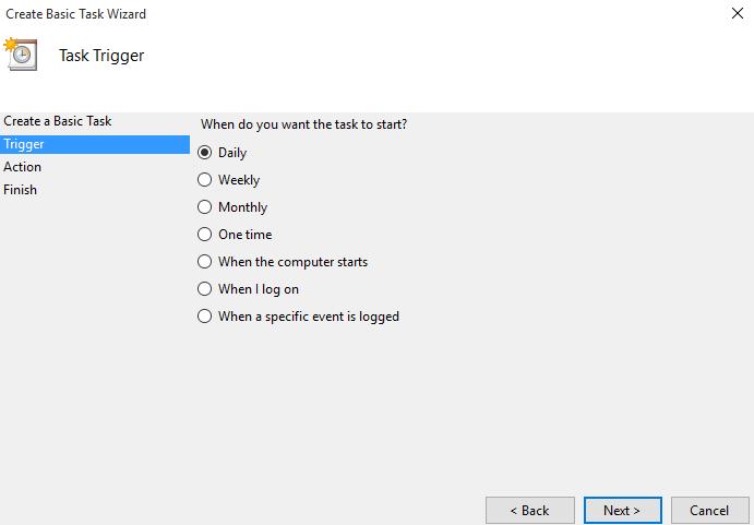 Choose task trigger