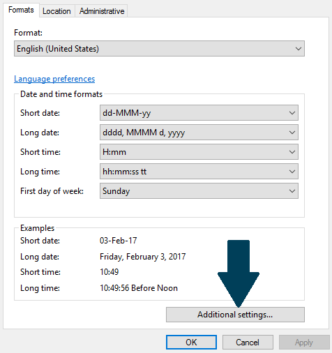 Date and Time Format settings