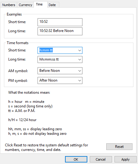 Create a custom time format in Windows 10