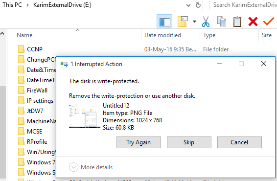 Unable to copy data to USB drive