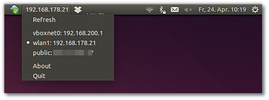 Show IP address in Ubuntu System Tray
