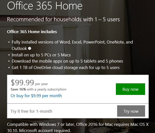 Get Office 365 Hom Edition trial