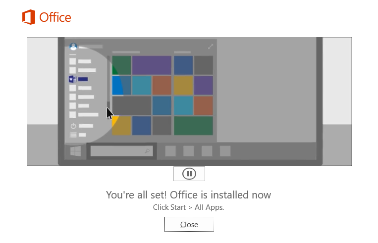 Office 365 has been installed