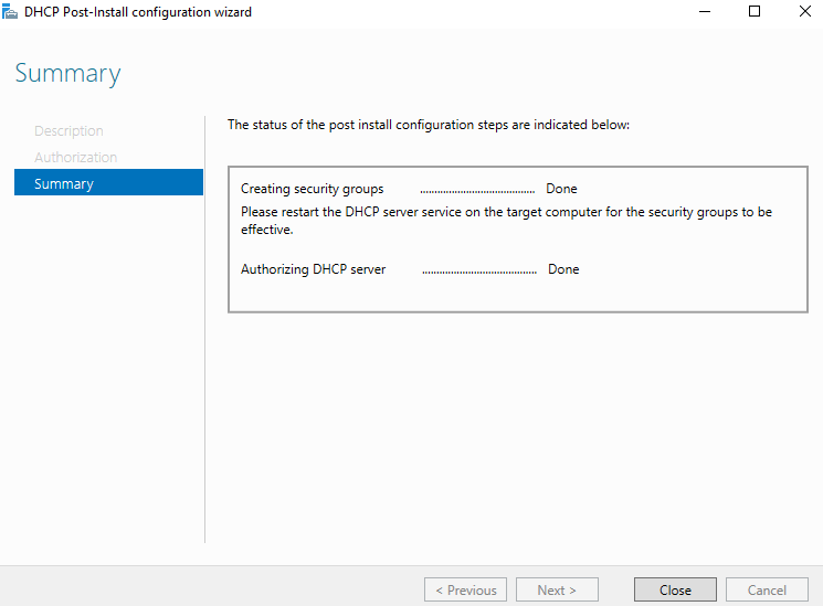 DHCP configuration is finished