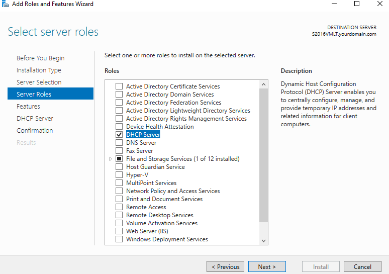 Select DHCP Server feature