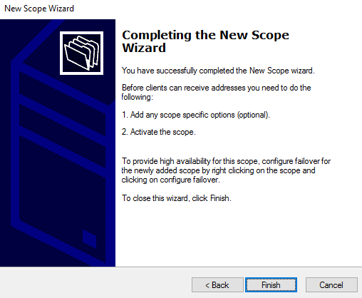 Complete DHCP Wizard