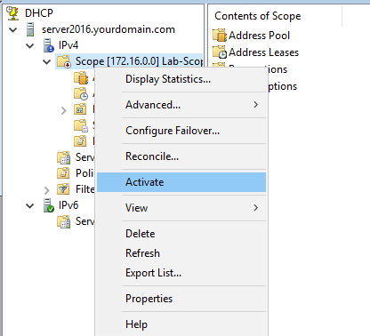 Activate the DHCP scope
