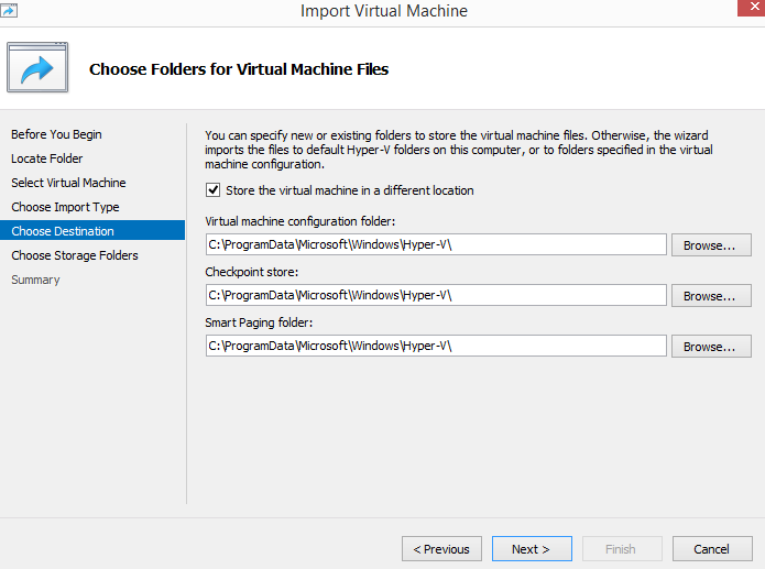 Choose folders for virtual files