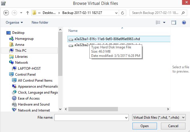 Mount VHD file