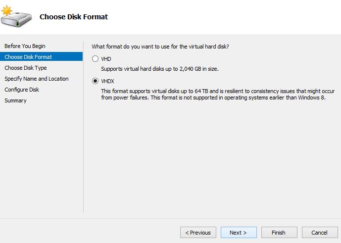 Choose disk format