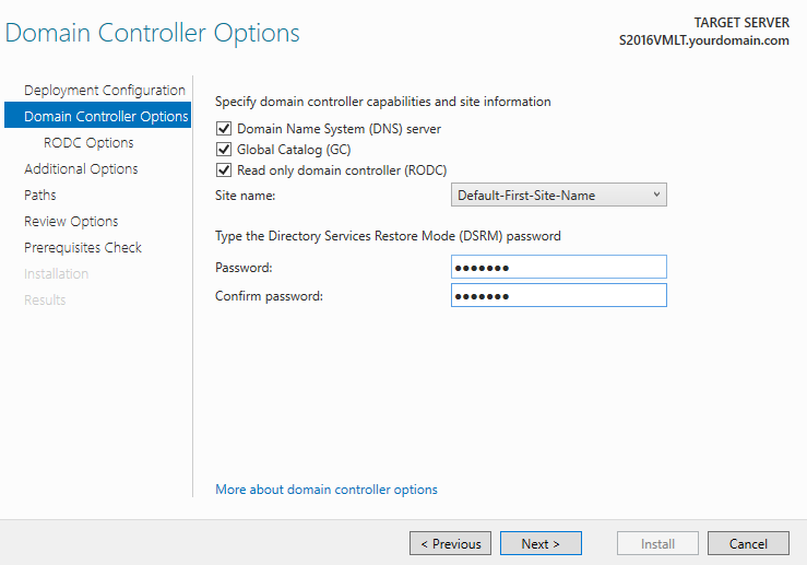 Domain Controller options