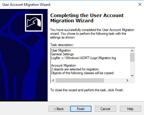 Completing user account migration wizard