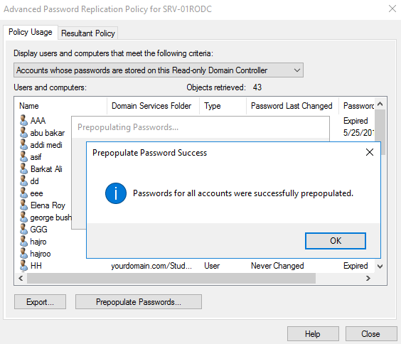 , How to Prepopulate Passwords Cache on Read-Only Domain Controller Windows Server 2016
