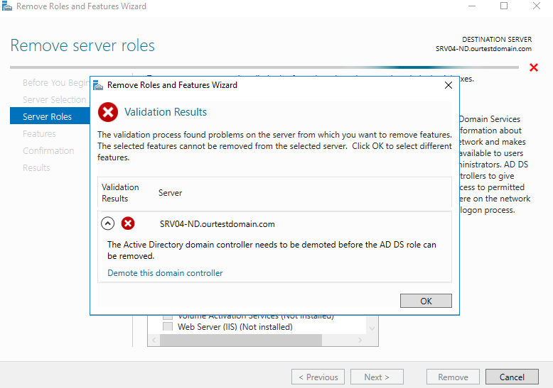 , How to Remove Active Directory Domain Services Using Server Manager