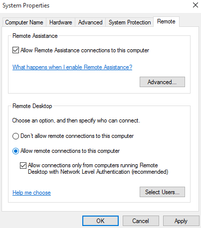 Allow remote connections to this computer