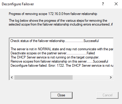 Deconfigure failover