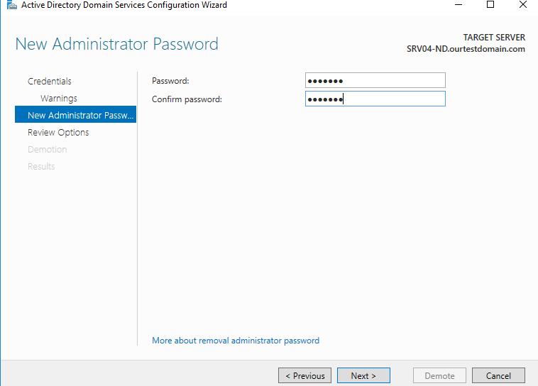 Enter the admin password
