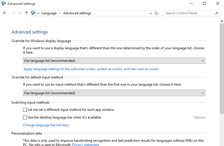 Apply language settings to the Welcome screen, system accounts, and new user accounts.