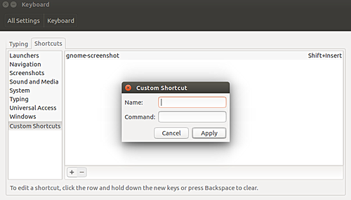 How to create custom keyboard shortcut in Ubuntu 16 04