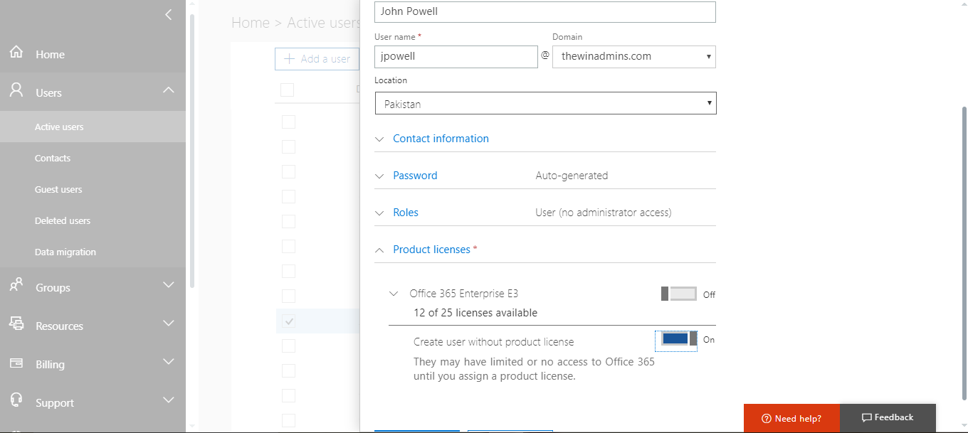 Create an Unlicensed User in Office 365 for Testing