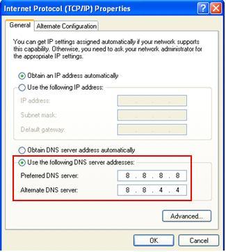Set Google DNS server