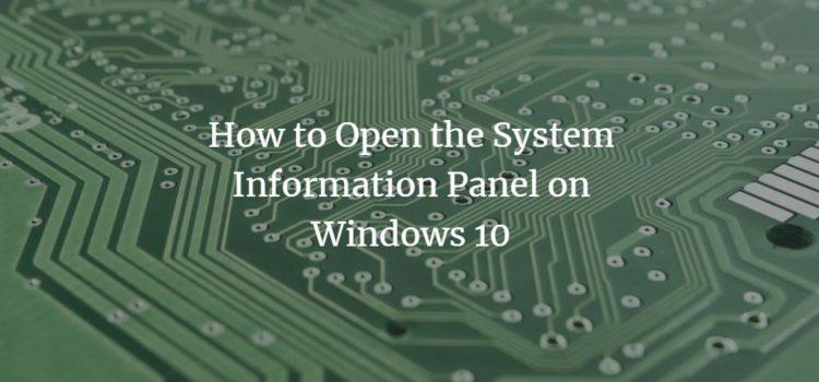 Windows system information panel