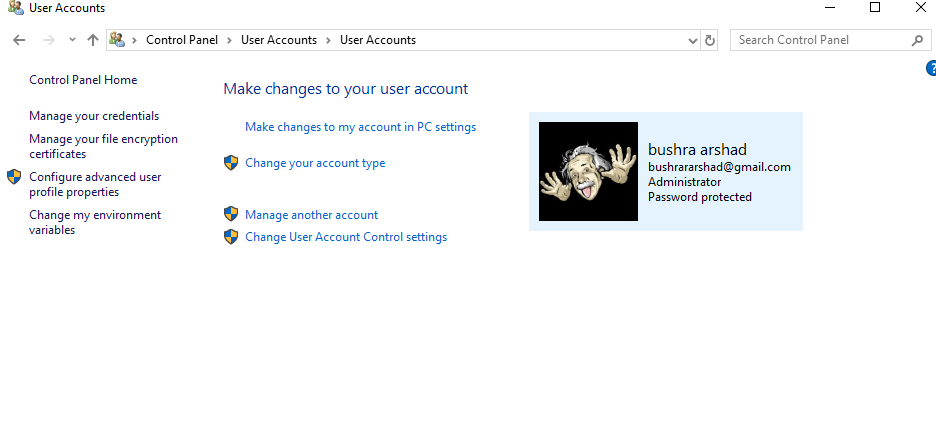 Change user account settings