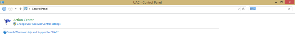 Type UAC in search bar