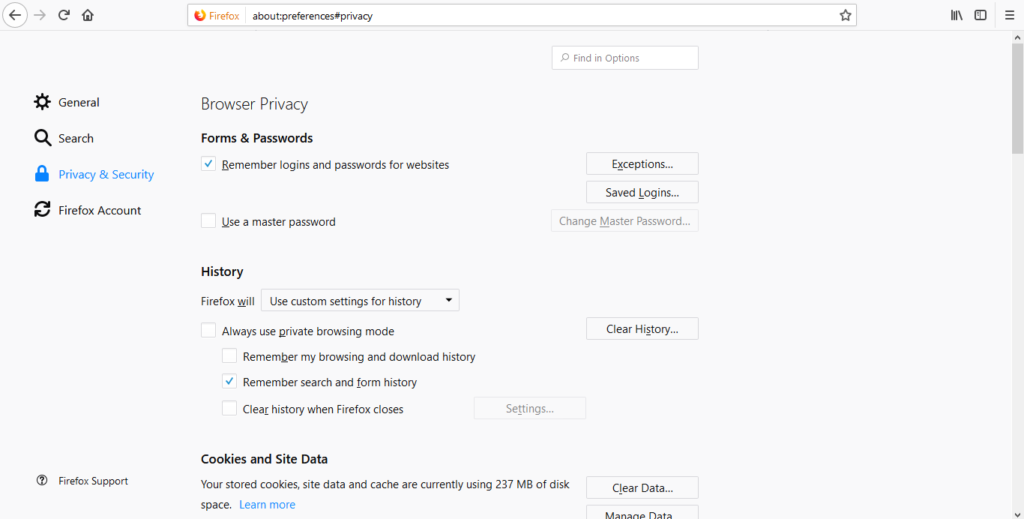 Privacy and Security tab
