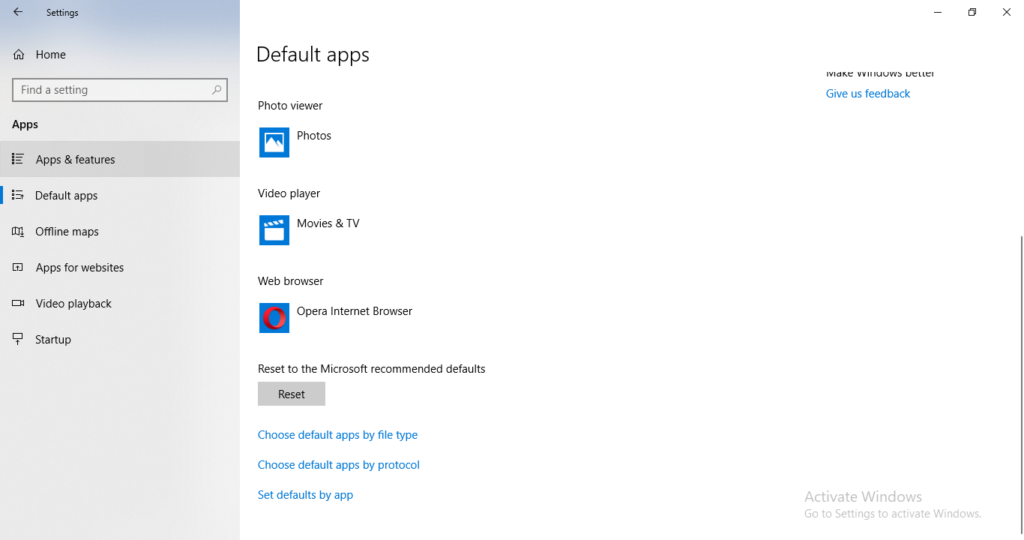 Windows default apps