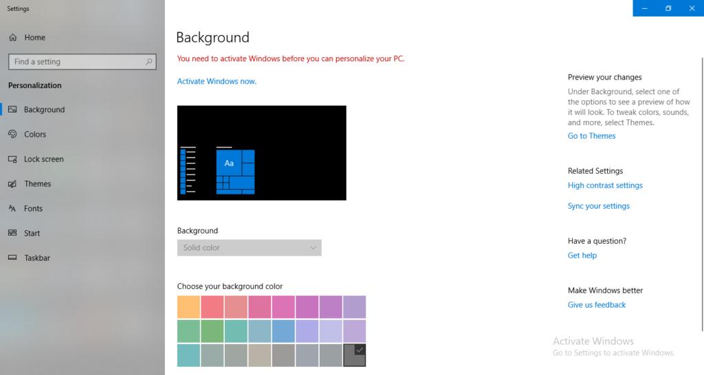 Windows 10 Desktop personalize dialog