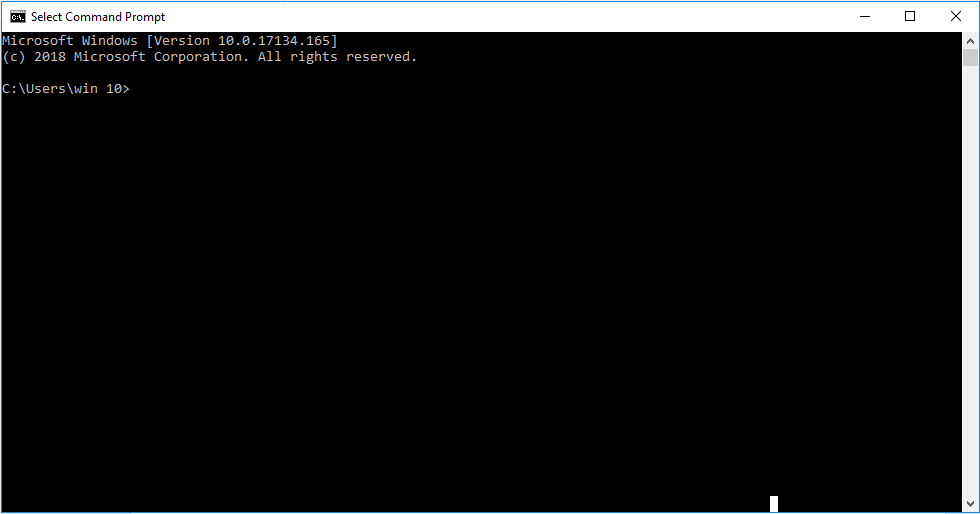 Windows command prompt ready to be used