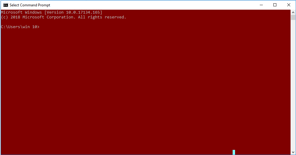 Command prompt with red background