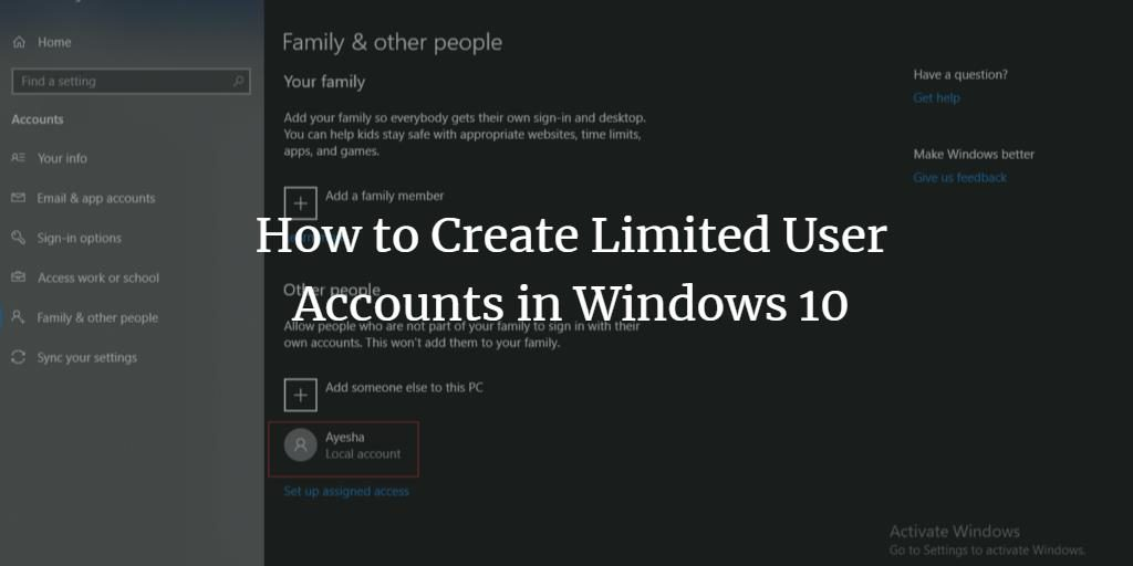 How to add a limited user account in Windows