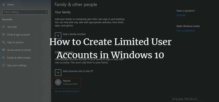 How to Create Limited User Accounts in Windows 10