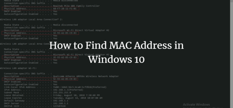 How to find the current MAC address in Windows 10