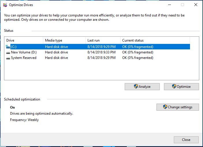 Optimize Drives utility window