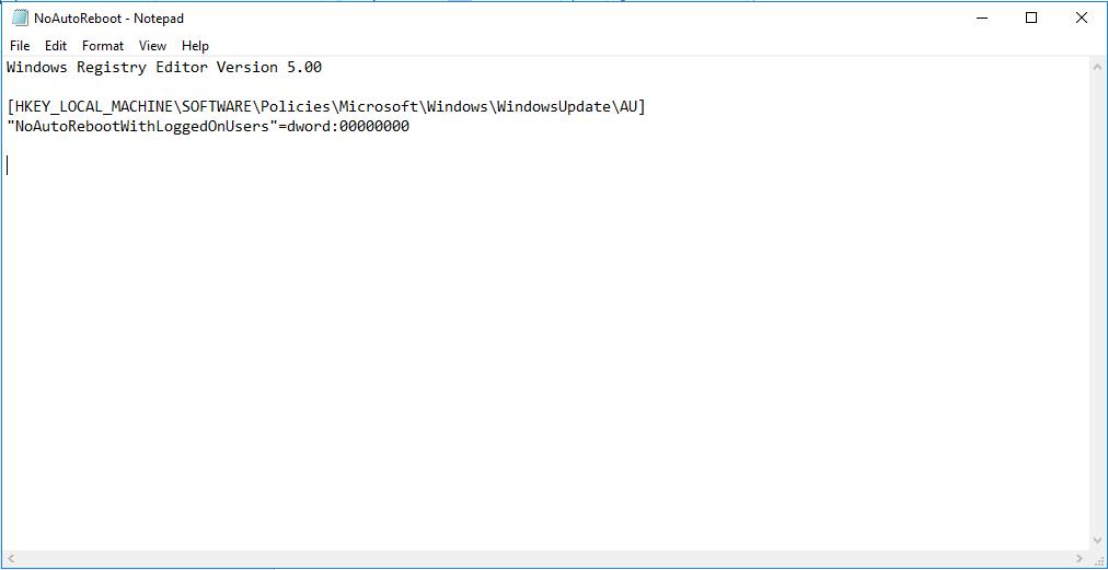 Registry file in notepad