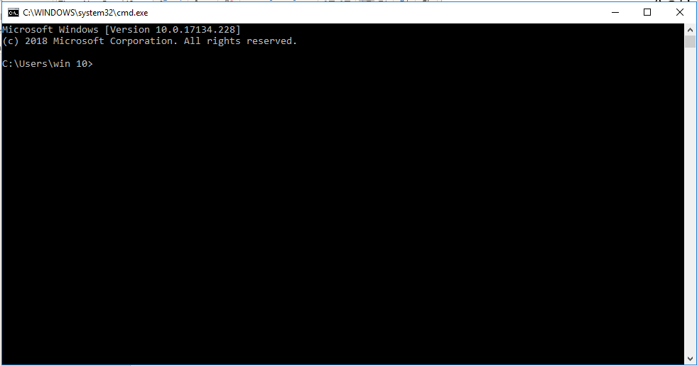 Windows command prompt opened