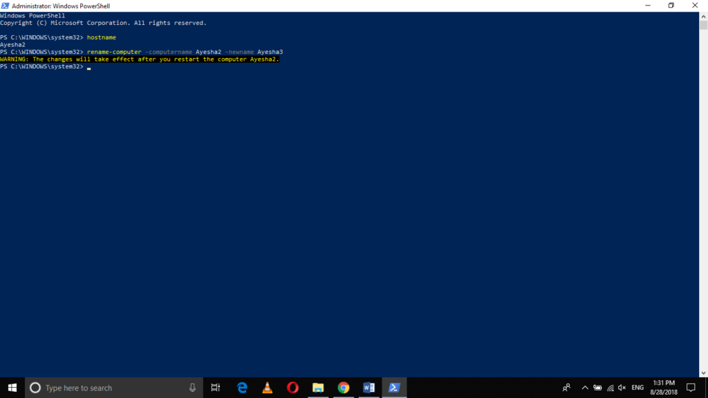 Execute the rename-computer PowerShell command