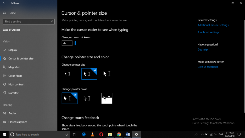 Changed mouse pointer size successfully