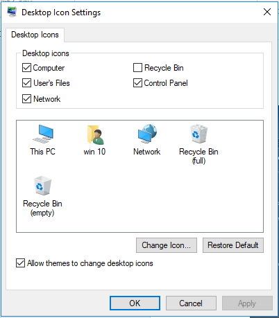 Desktop icon settings window