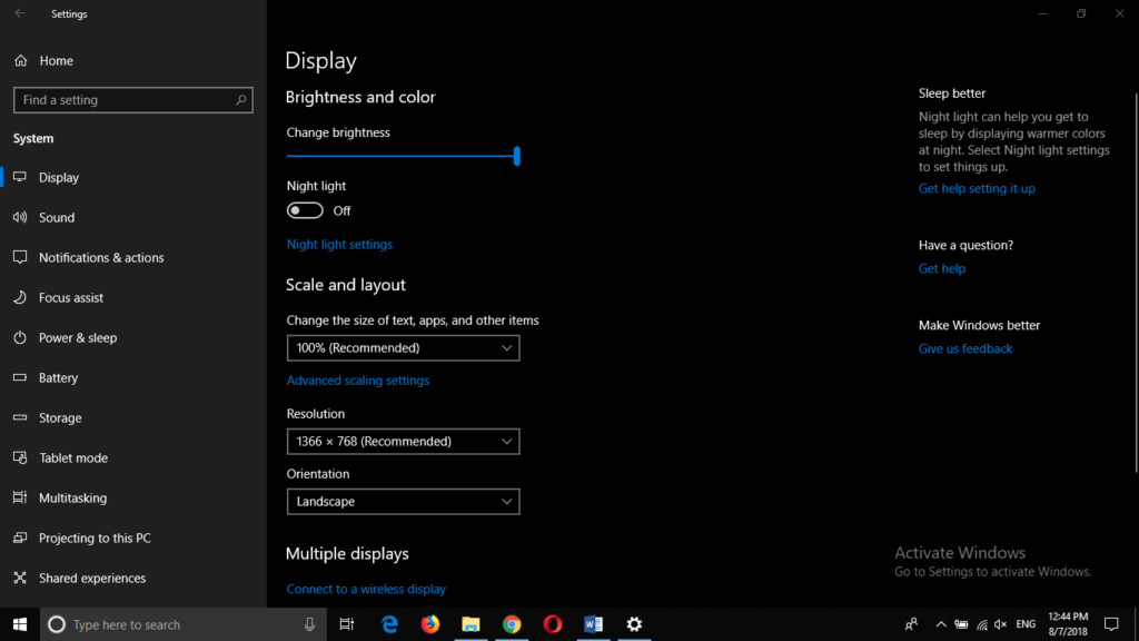 how to turn screen rotation on in windows 10