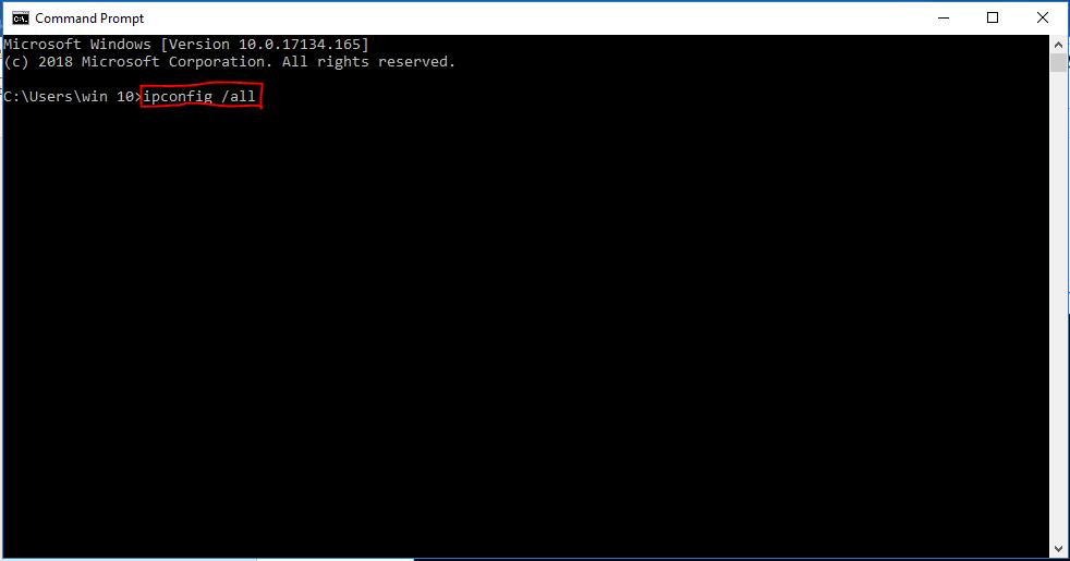 Use ipconfig command