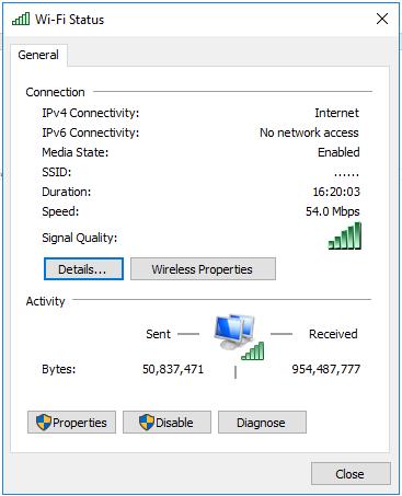 Wi-Fi status window