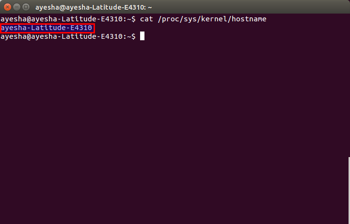 Hostname shown